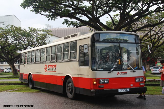 An ex-CSS Nissan Diesel U31RCN () pained in SMRT livery.