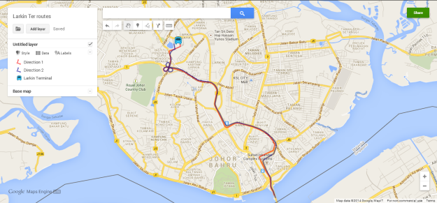 Actual route to Larkin Ter