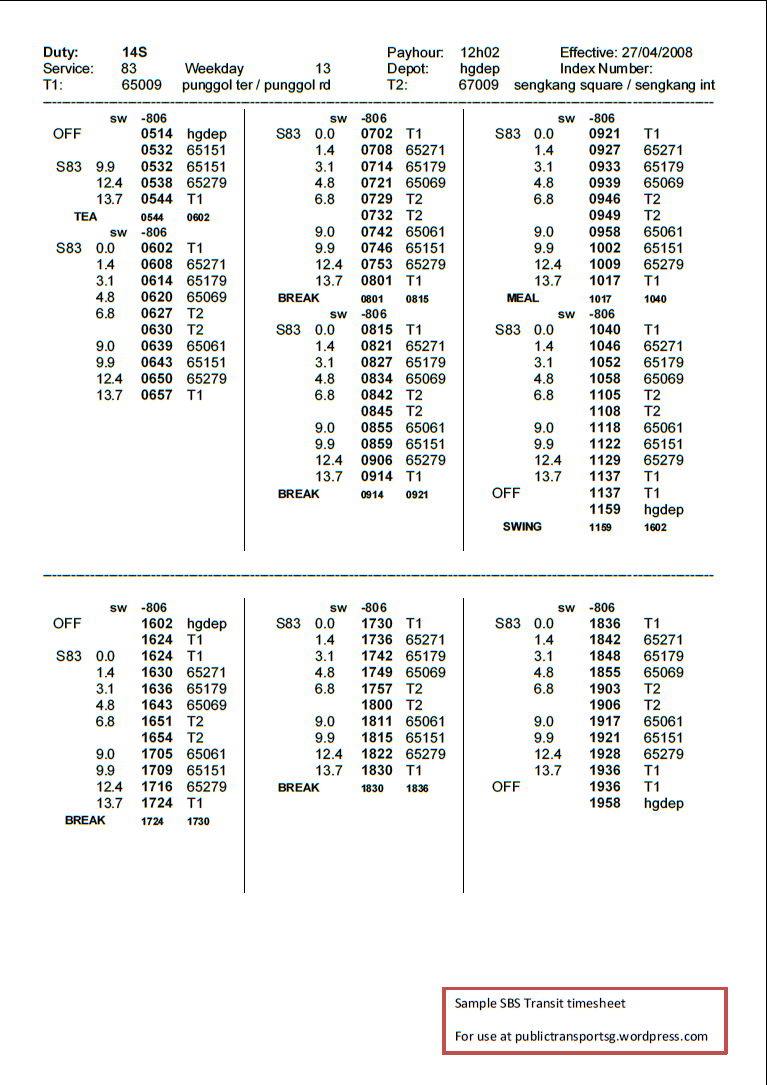 bus and driver scheduling public transport sg