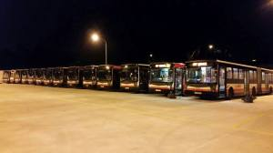 Articulated bus parking
