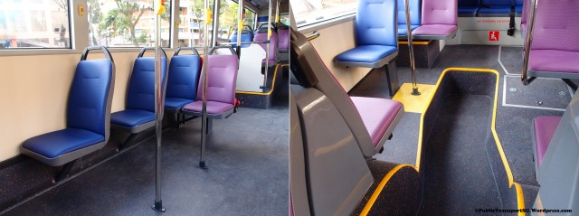 Modified A22 seating with three removed seats, replaced by grabpoles