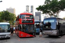 Parked among tour buses at Banda Street