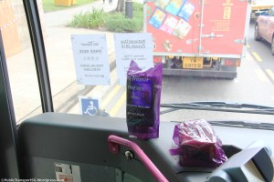 SBS Transit covered all card readers and coinboxes with purple plastic bags