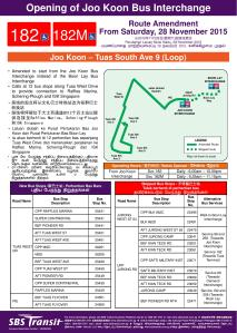 Route Poster for Service 182 / 182M shortening to Joo Koon
