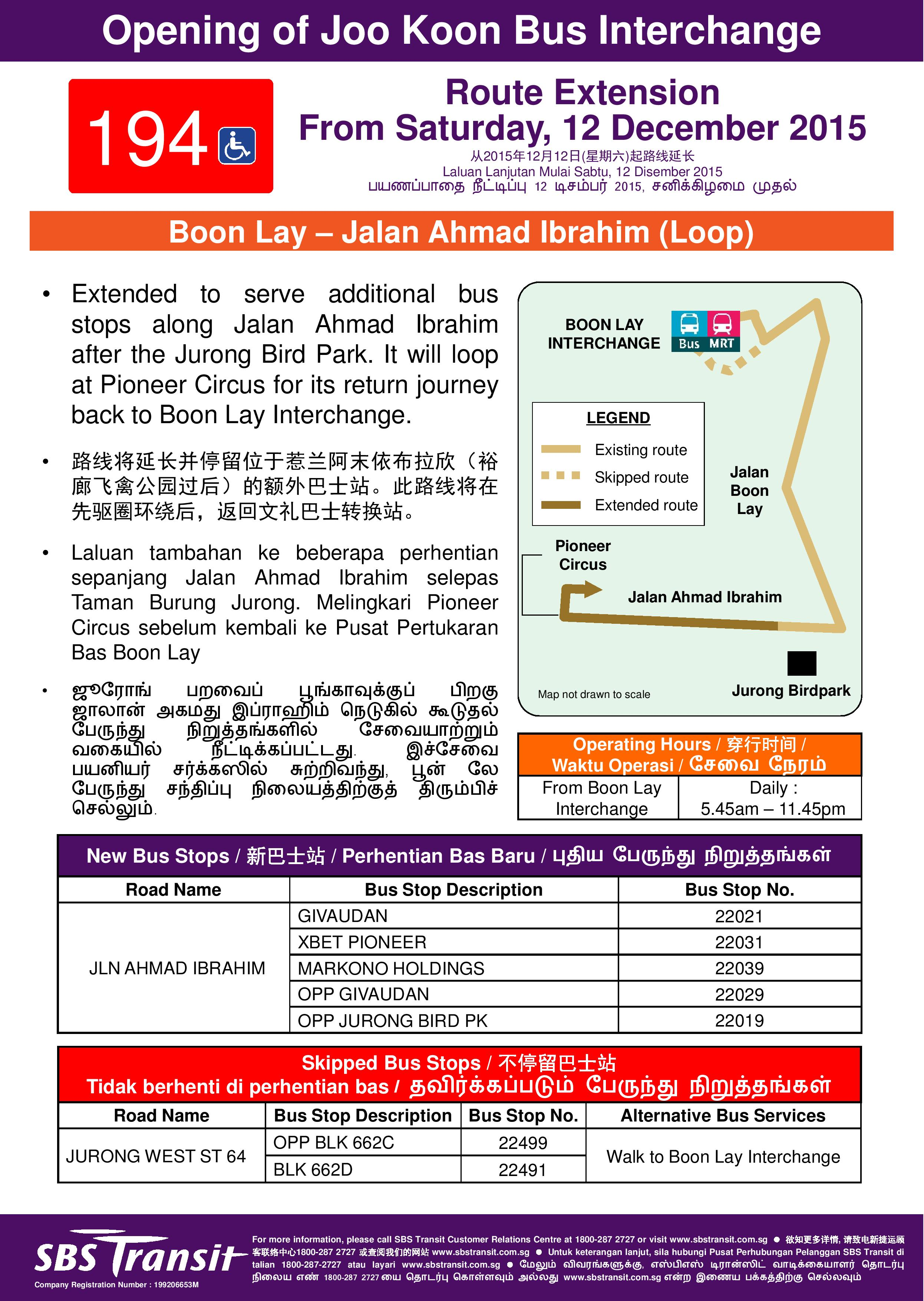 Sbs Transit Bus Service 194 Land Transport Guru